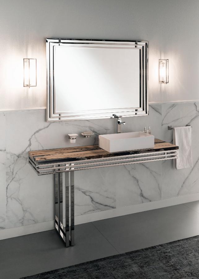 Gaia Mobili - complementi - New Style - mobili - Artdecò 2 - Mobile in Cromo e top in briccola in resina opaca