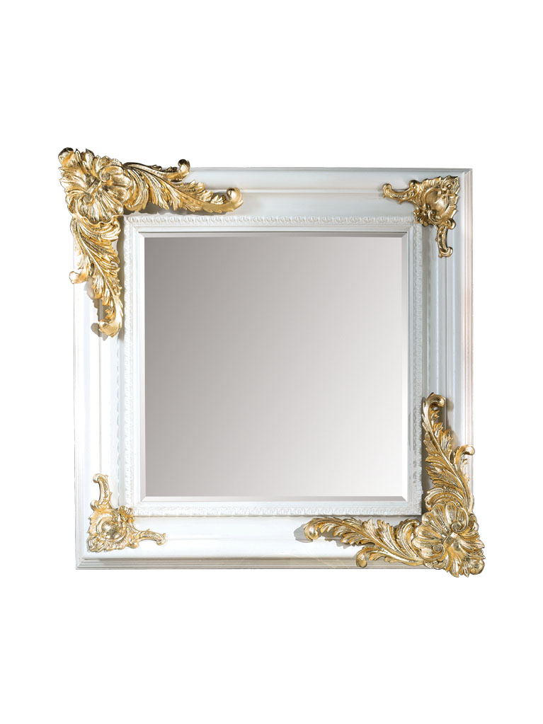 Gaia Mobili - complementi - specchiere - Bazille - 100x100 Specchio laccata lucida RAL 9003 e Foglia Oro