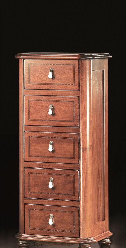 Gaia Mobili - Classic - complementi - mobili - Cassettiera Ischia - mobile in finitura noce intarsiato 50x38x105h