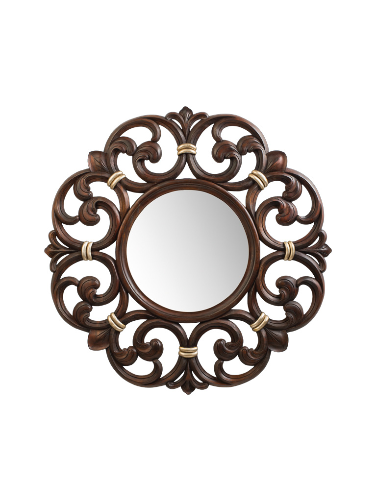 Gaia mobili - collection - frames - Costance - 98x98 - Polished Walnut finish and Antiqued Silver Leaf