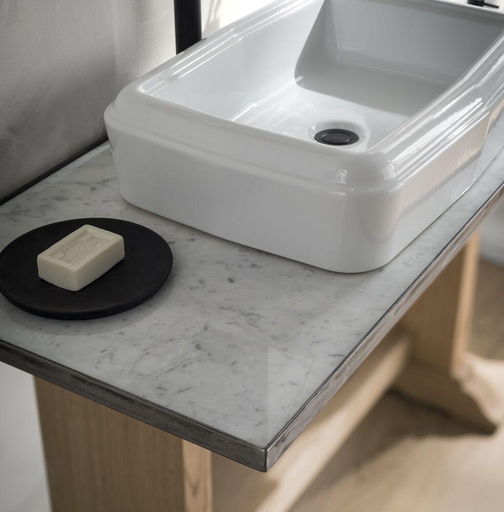Gaia Mobili - complementi – industrial – mobili - road -lavabo in ceramica con mobile in frassino massello naturale