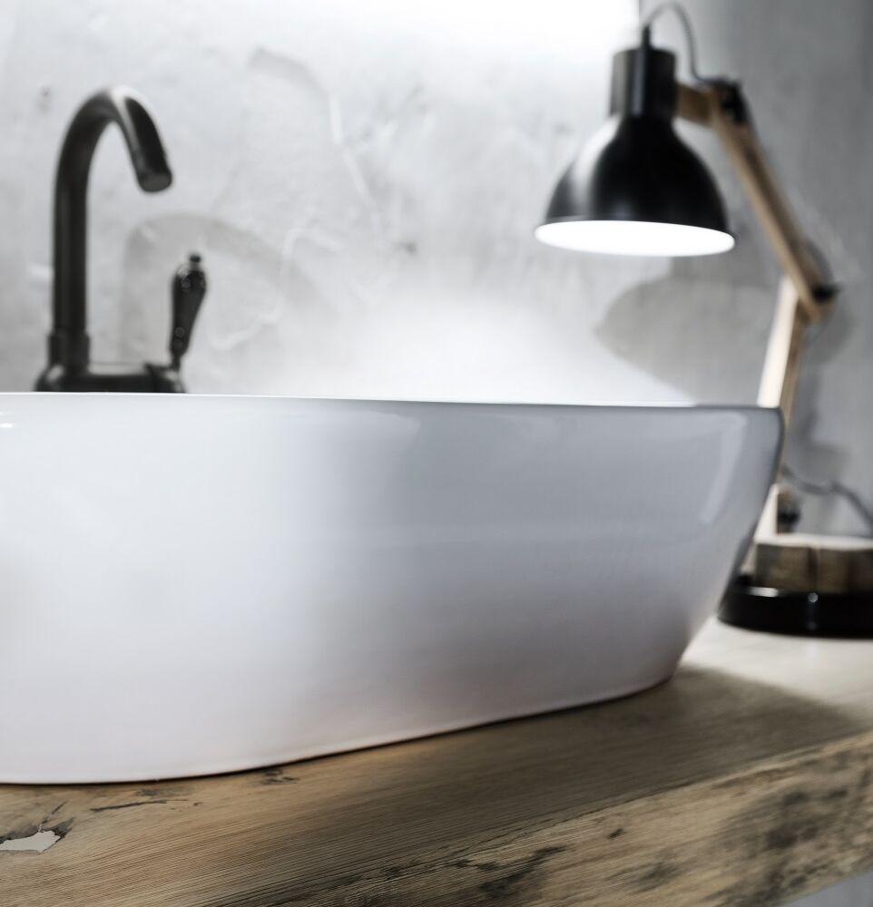 Gaia Mobili - complementi – industrial – mobili - wood 1 - lavabo in appoggio in ceramica e top in castagno naturale