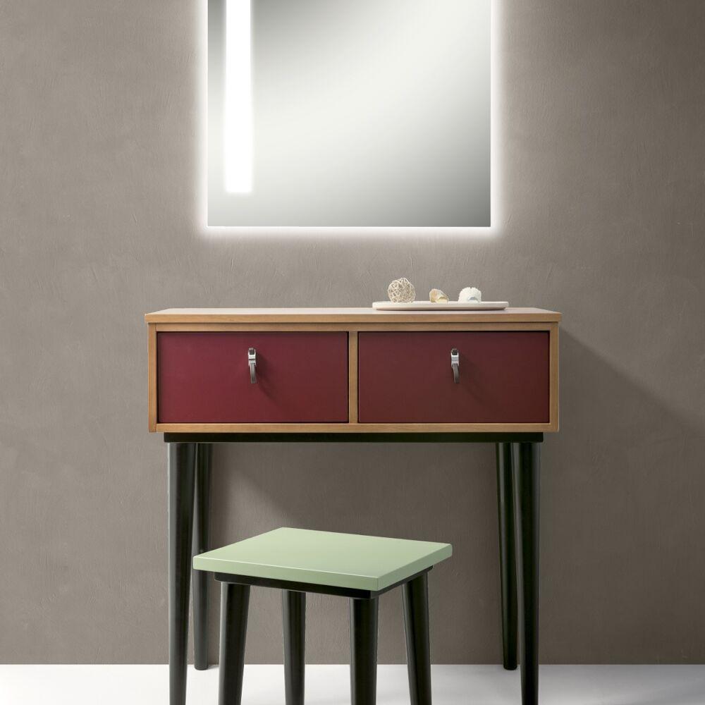 Gaia Mobili - complementi - mobili - new style - modì - lavabo in ceramica con mobile di noce tanganica