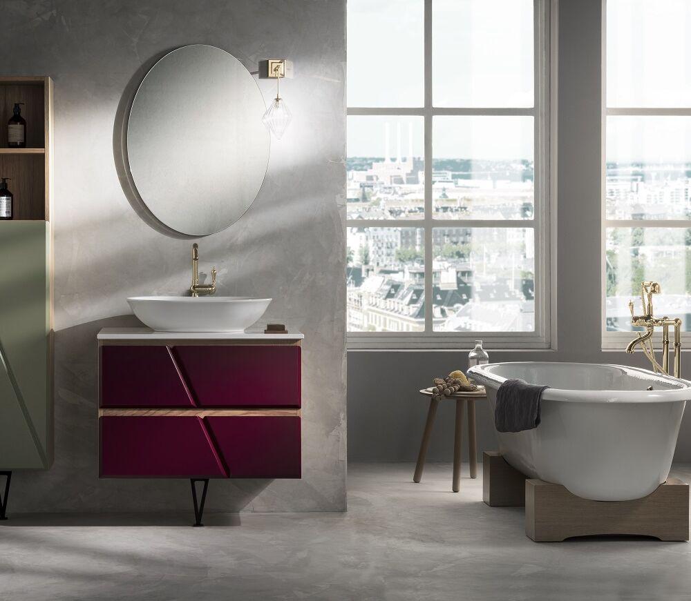 Gaia Mobili - complementi - mobili - studio - standing - lavabo in appoggio in ceramica e top in marmo tecnico