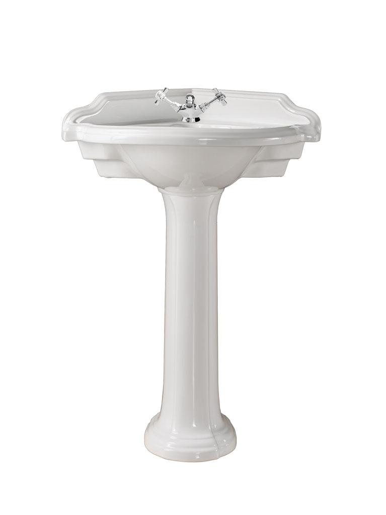 Gaia Mobili - complementi - Pompei - sanitari - PHPM08 + PHPM09CL - Lavabo ad angolo in ceramica con Colonna