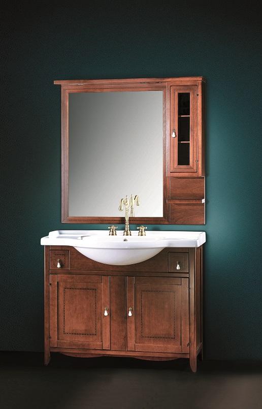 Gaia Mobili - complementi - Classic - mobili - Malta - Mobile in Finitura Noce Intarsiato e lavabo in ceramica