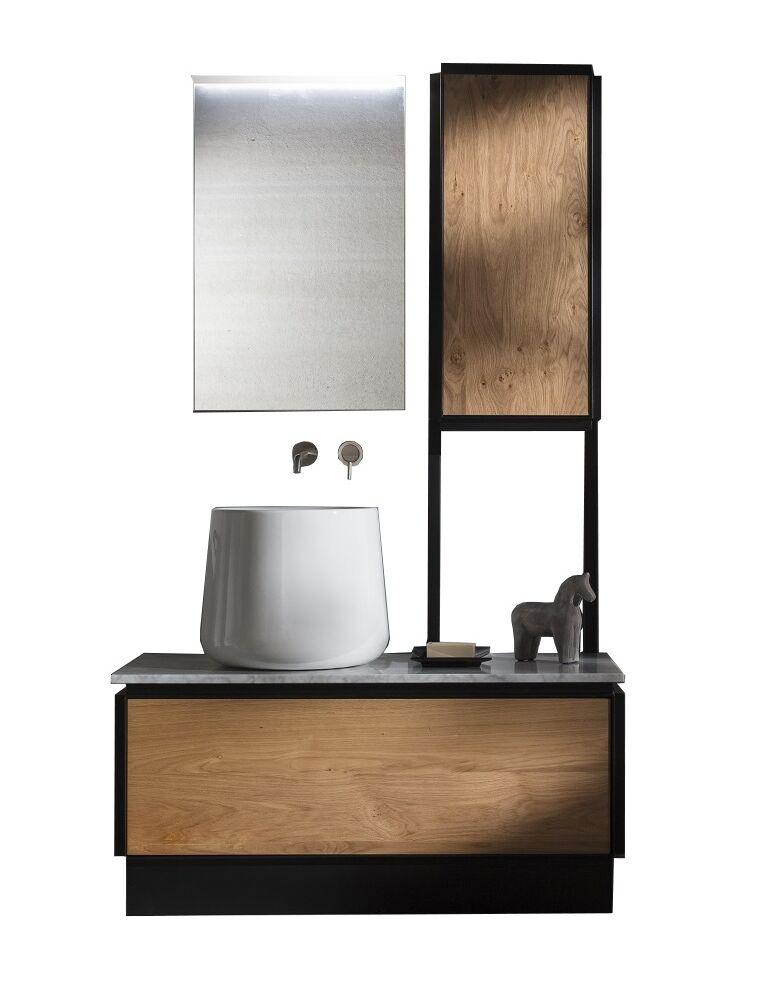 Gaia Mobili - complementi – industrial – mobili - metrò - lavabo in appoggio in ceramica e mobile in ferro e legno