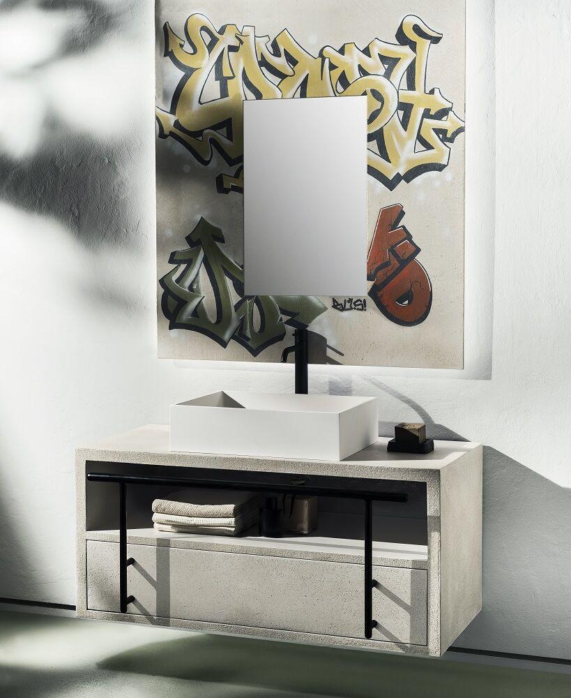 Gaia Mobili - complementi - industrial - mobili - murales - lavabo in resina con mobile in legno e resina decorata