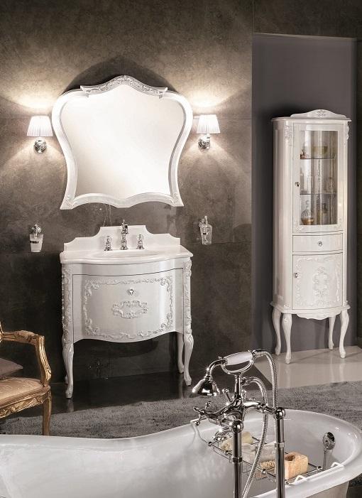 Gaia Mobili - complementi - Luxury - mobili - Murano 1 - Mobile in Finitura Laccato Lucido Madreperla Bianco