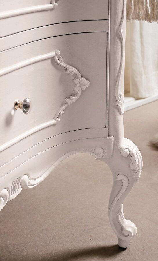 Gaia Mobili - complementi - Luxury - mobili - Anastasia - Mobile in Decorato a Mano Bianco Opaco