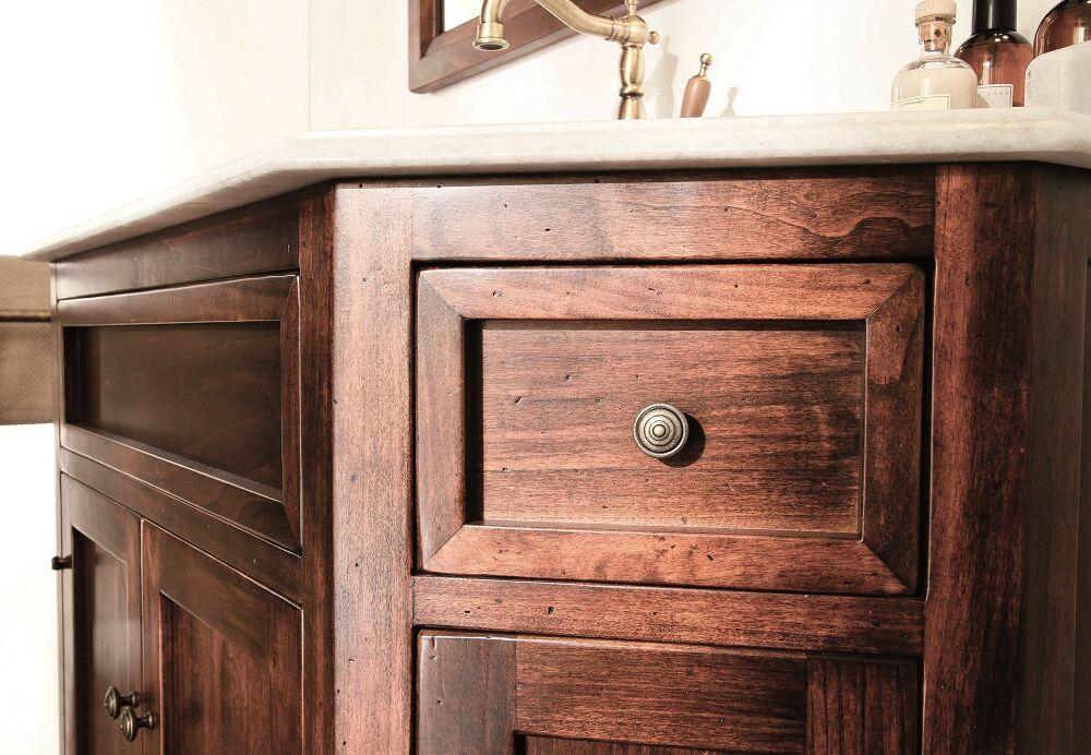 Gaia Mobili - complementi - Classic - mobili - Papavero - Mobile in finitura noce anticato e lavabo in ceramica