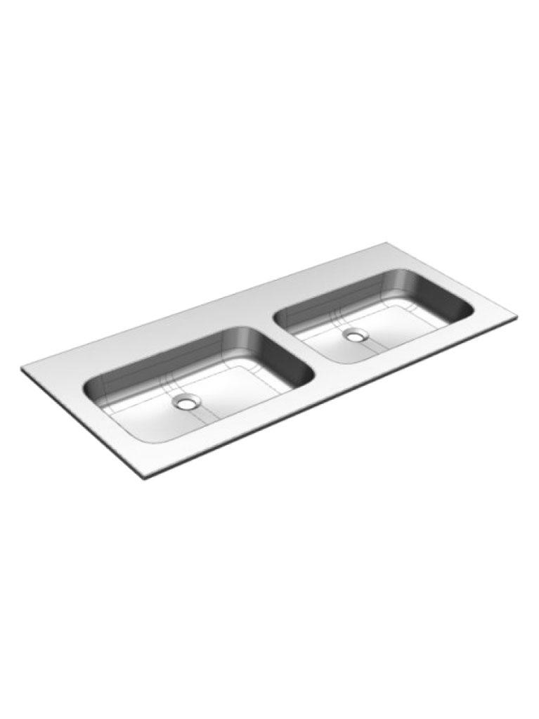 Gaia Mobili - complementi - lavabi - lavabi resina - PLANA121DV - lavabo in resina doppia vasca