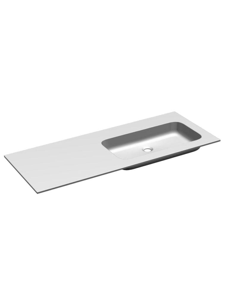 Gaia Mobili - complementi - lavabi - lavabi resina - PLANA106DX - lavabo in resina vasca destra