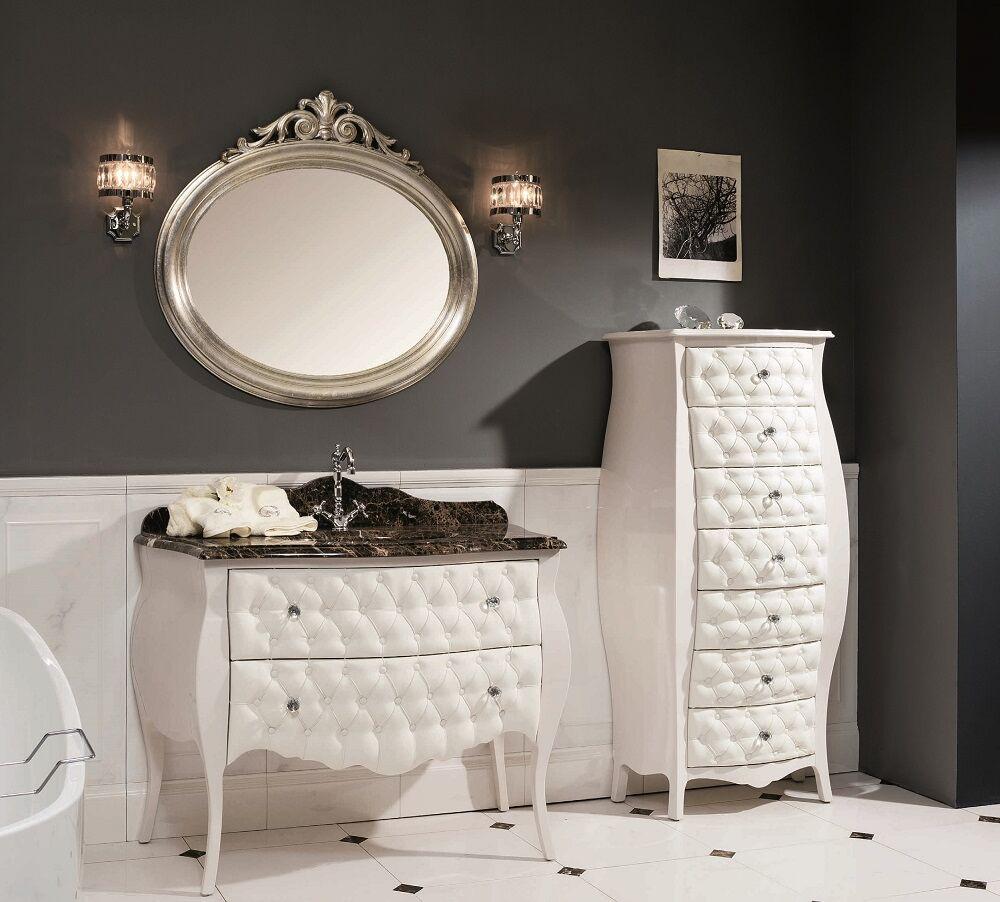 Gaia Mobili - complementi - Luxury - mobili - Settimino Capitonnè - Finitura laccato lucido Madreperla Cipria e Capitonnè