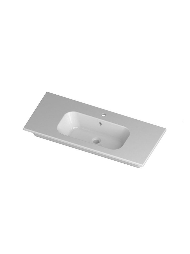 Gaia Mobili - complementi - lavabi - lavabi ceramica - QUBO101D - Lavabo in ceramica cm 101x51,5