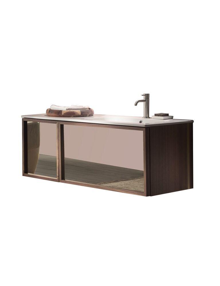 Gaia Mobili-Collection-Furniture-Studio-Reflex-lavabo in ceramica matt e mobile in noce canaletto