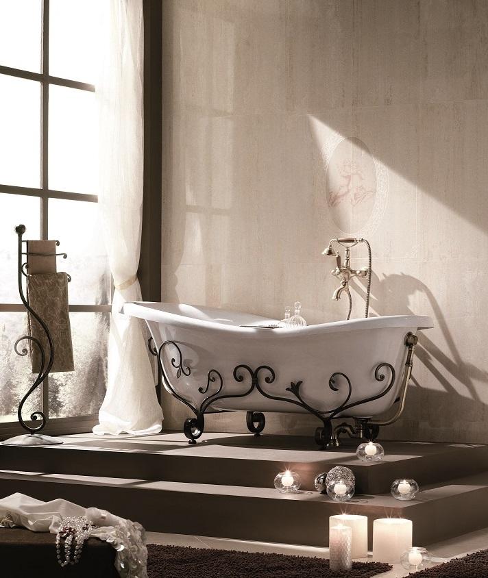 Gaia mobili - complementi - vasche - Rose - Vasca in marmoresina con struttura in ferro battuto