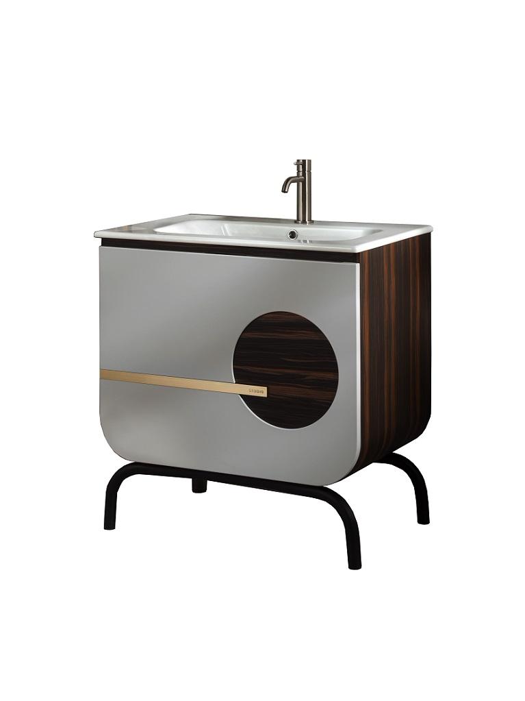 Gaia Mobili - complementi – mobili – studio - round 1 - lavabo in ceramica con mobile laccato