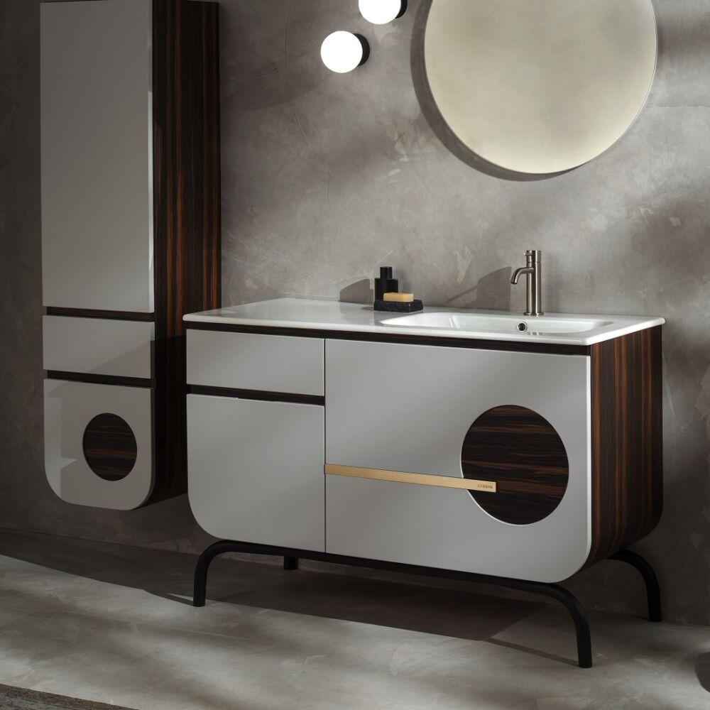 Gaia Mobili - complementi – mobili – studio - round 2 - lavabo in ceramica e mobile laccato