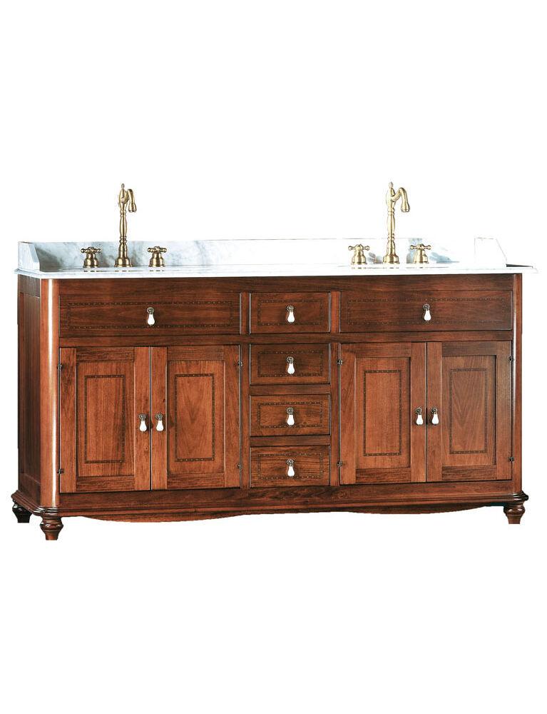 Gaia Mobili - complementi - Classic - mobili - Salina - Mobile in finitura noce intarsiato e lavabo in ceramica