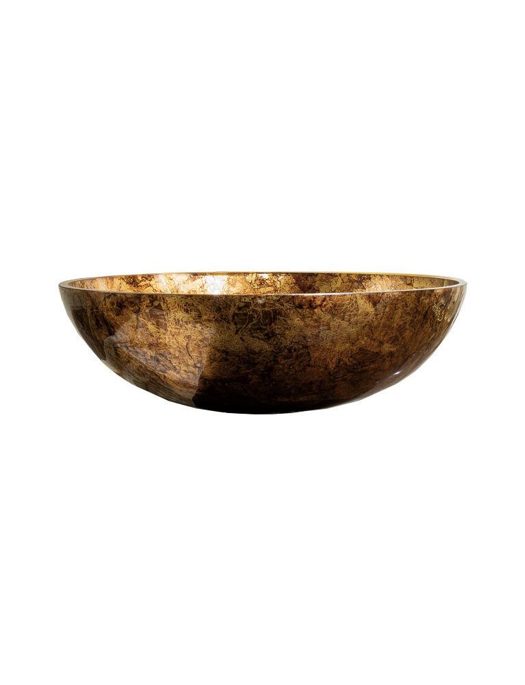 Gaia Mobili - complementi - lavabi - lavabi cristallo - TONDO2 - lavabo in cristallo da appoggio foglia oro antico