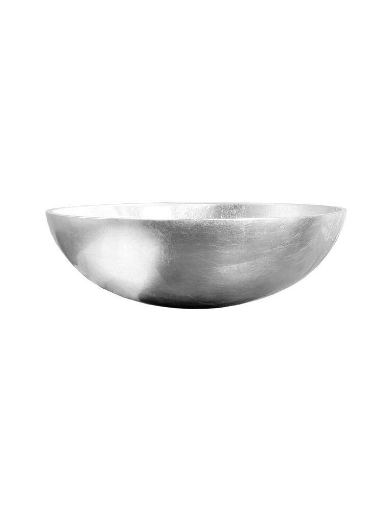 Gaia Mobili - complementi - lavabi - lavabi cristallo - TONDO3 - lavabo in cristallo da appoggio foglia argento