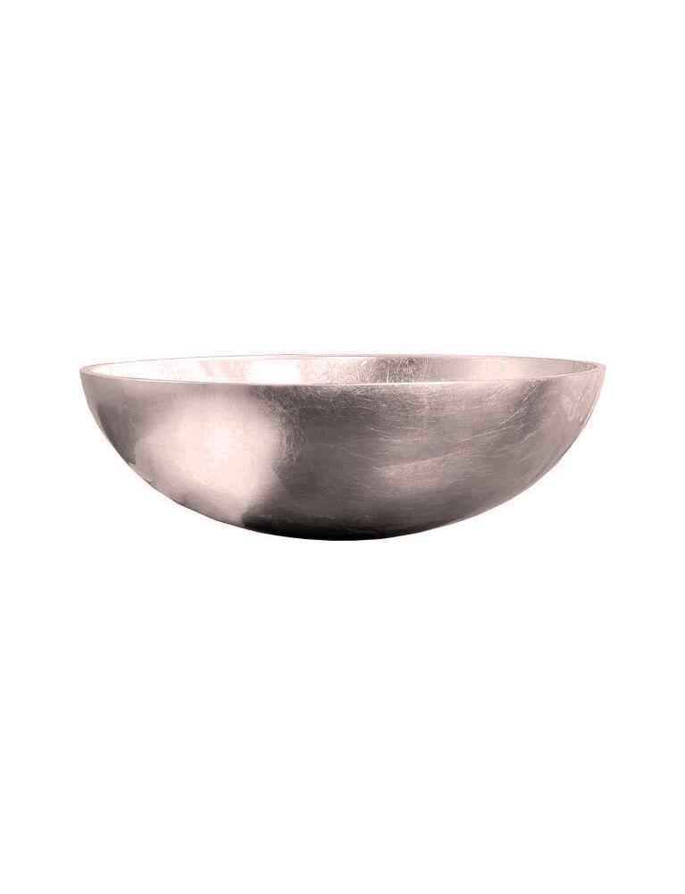 Gaia Mobili - complementi - lavabi - lavabi cristallo - TONDO4 - lavabo in cristallo da appoggio foglia argento antico