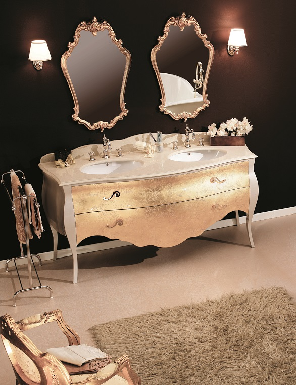 Gaia Mobili - complementi - Luxury - mobili - Tristan - Mobile in Finitura Laccato Lucido M. Perla Cipria e Foglia