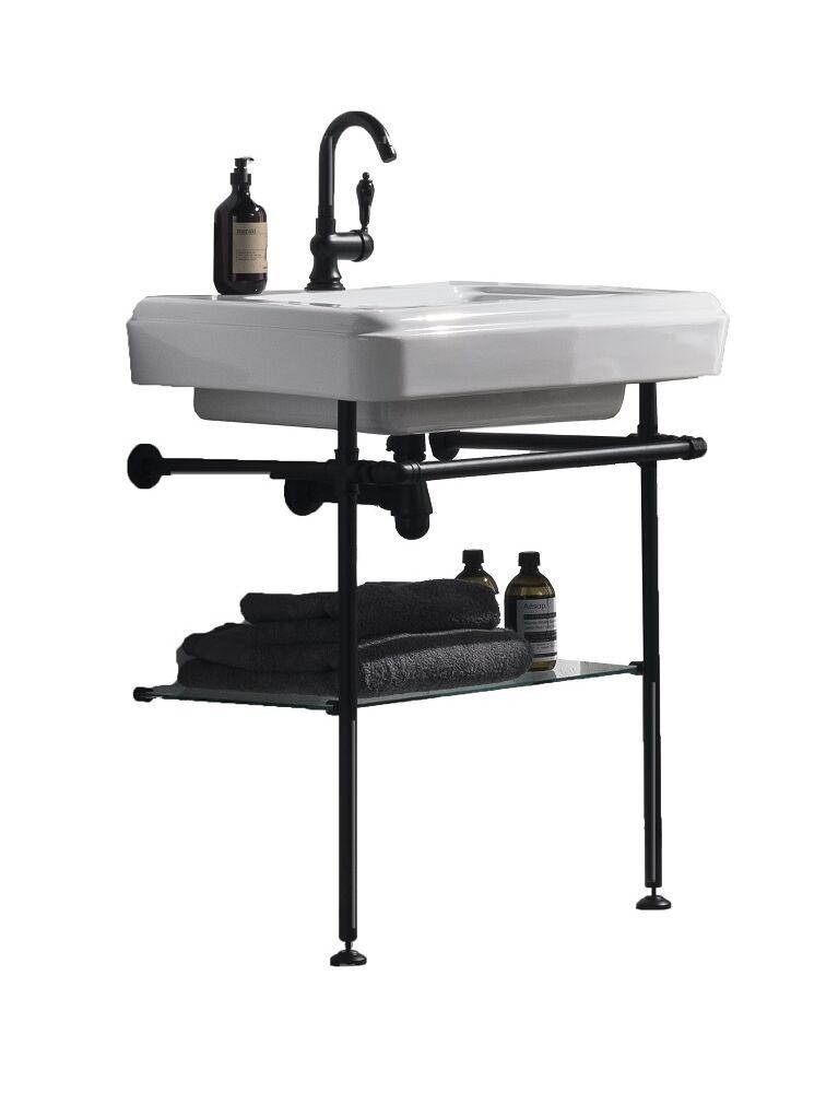 Gaia Mobili - complementi – industrial – mobili - tube - lavabo in ceramica con mobile in ottone laccato