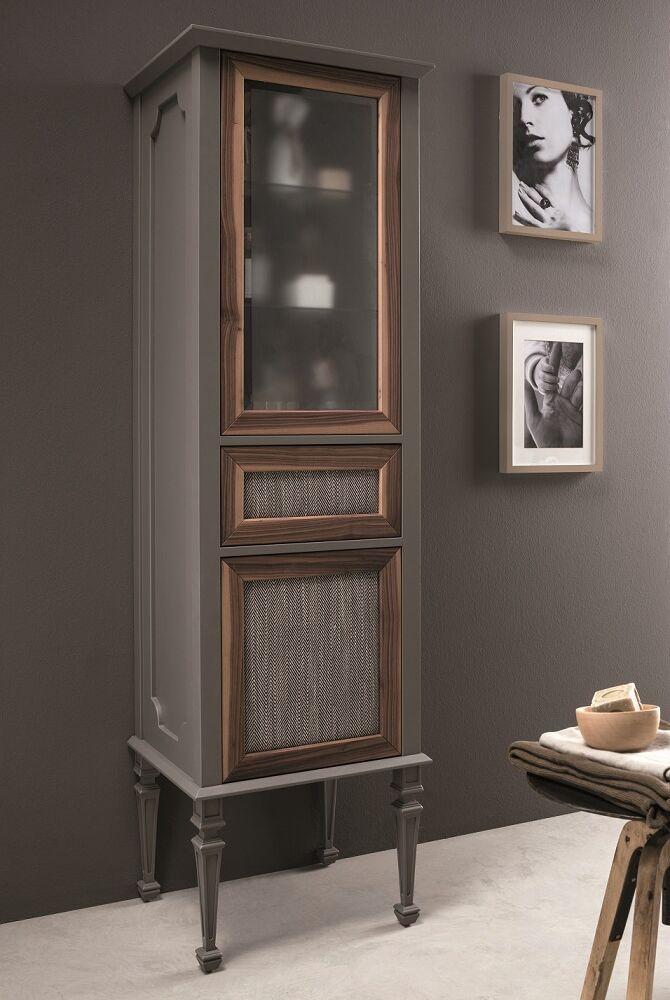 Gaia mobili - complementi - mobili - New Style - Vetrina Atelier - Mobile in Opaco e Canaletto con Tessuto 55x45x185h