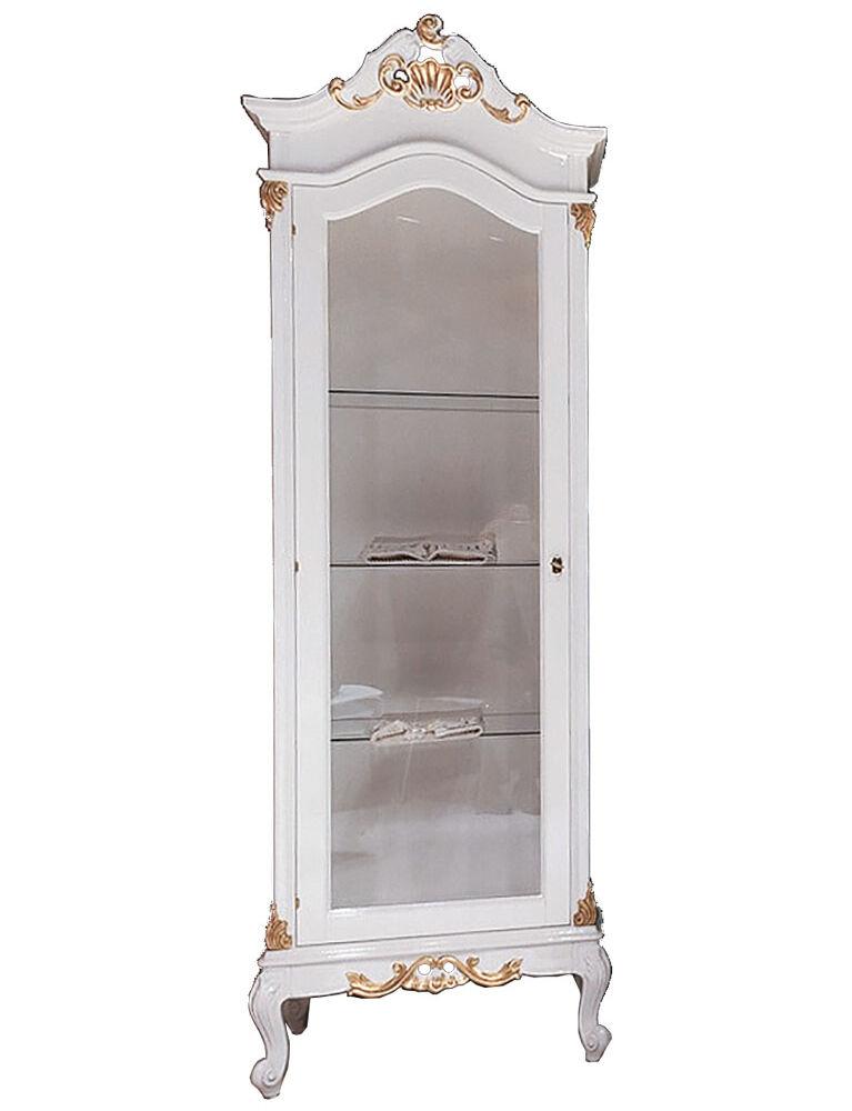 Gaia Mobili-Collection-Furniture-Luxury-Vetrina Julien Dimensioni cm 73x48x214h - Mobile: Finitura Laccato Lucido RAL 9003 e Foglia Oro