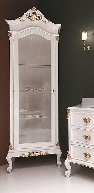 Gaia Mobili-Collection-Furniture-Luxury-Vetrina Julien Dimensioni cm 73x48x214h - Mobile: Finitura Laccato Lucido RAL 9003 e Foglia Oro-2