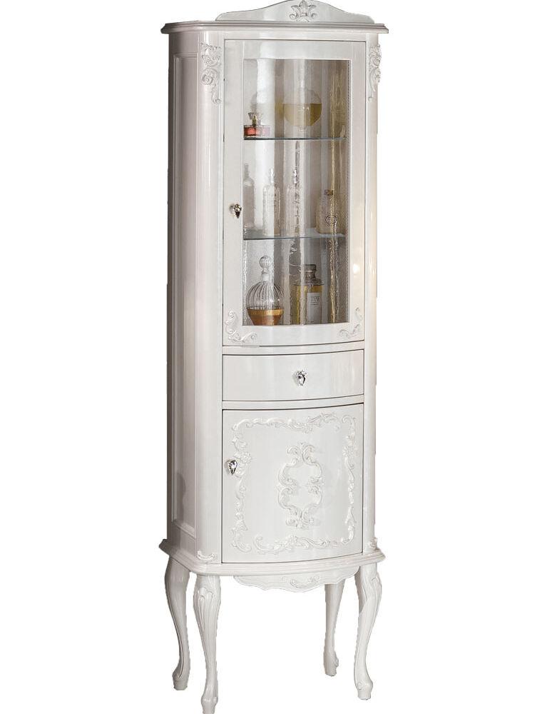 Gaia Mobili-Collection-Furniture-Luxury-Vetrina Murano - Finitura laccato lucido madreperla bianco 52x40,5x185h
