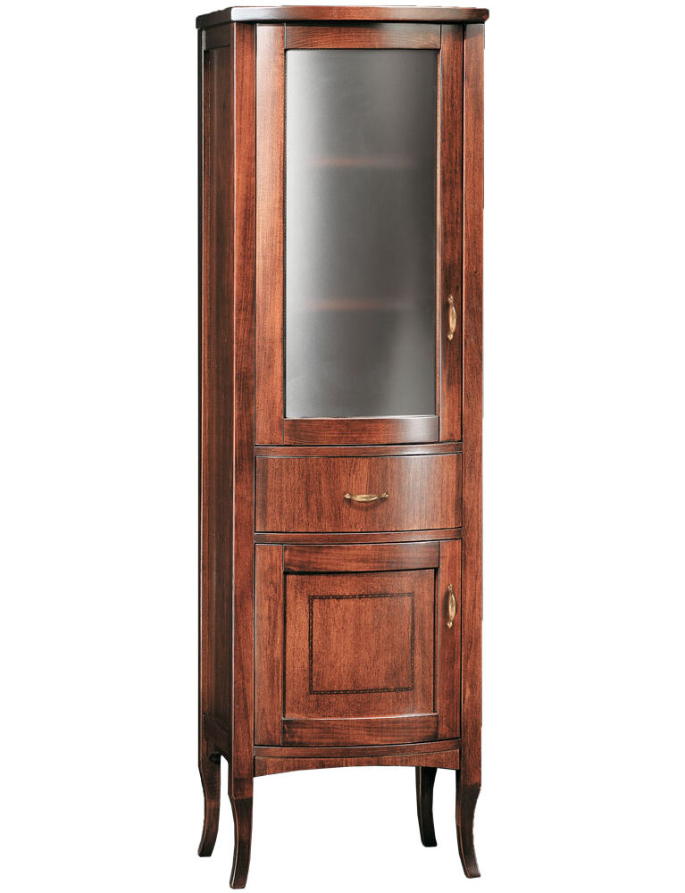 Gaia mobili - Classic - complementi - mobili - Vetrina Rodi - Mobile in Finitura Noce Intarsiato 50x40x160h