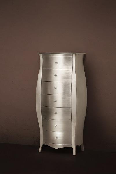 Gaia Mobili - complementi - Luxury - mobili - Settimino - Mobile in finitura laccato lucido foglia argento antico