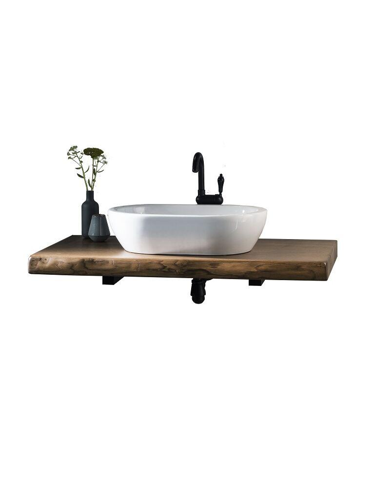 Gaia Mobili - complementi - industrial - mobili - wood 3 - lavabo in ceramica con mobile in castagno tinto