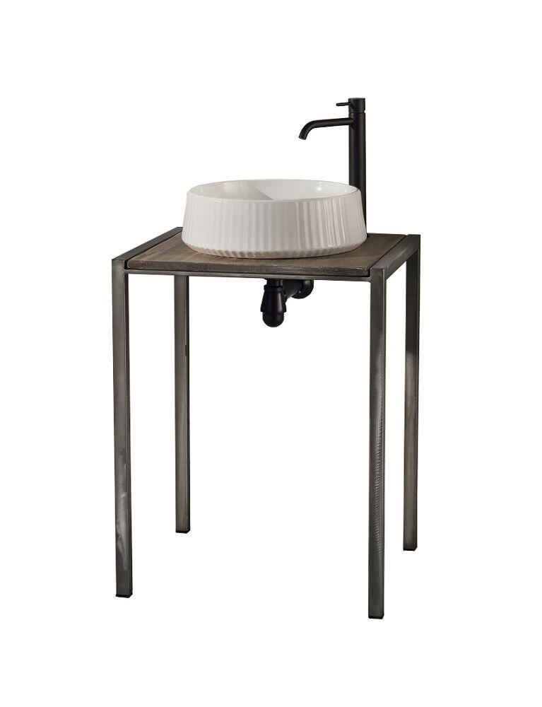 Gaia Mobili - collection - furniture - Industrial - Zone - lavabo in appoggio in ceramica e mobile in ferro e legno