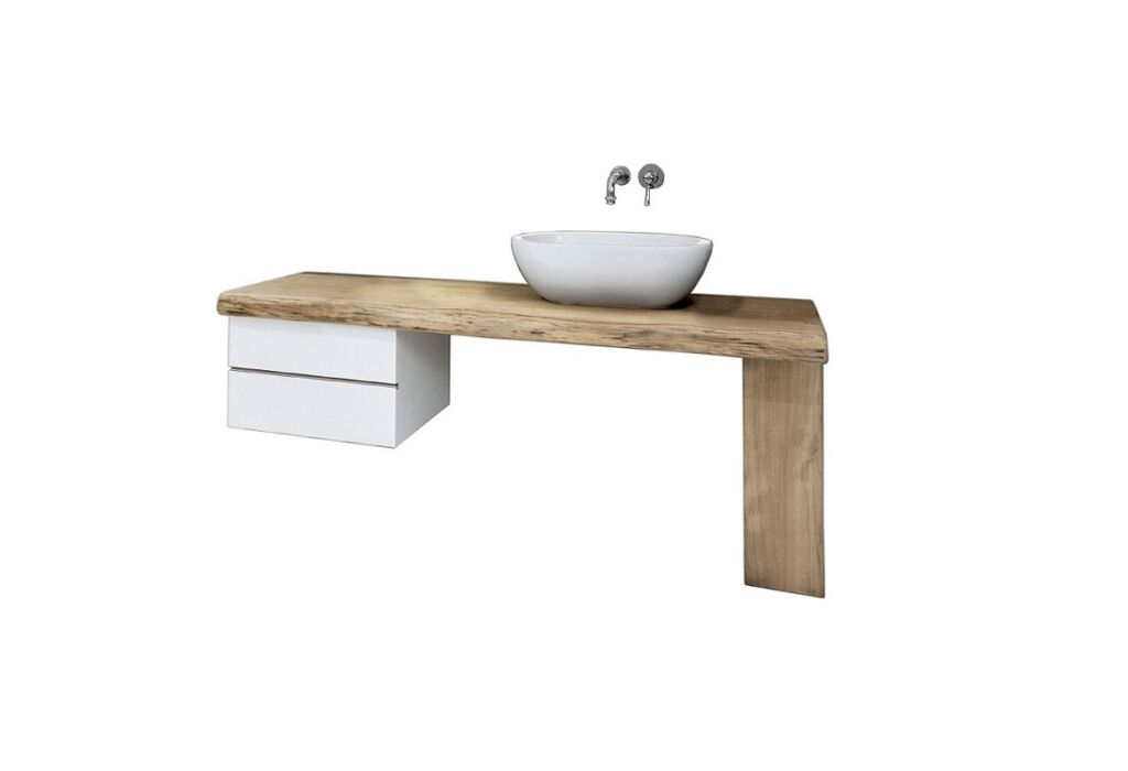 Wood shelf with drawers and washbasin - wooden bathroom top