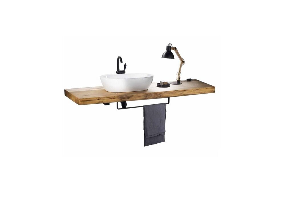 wooden bathroom top - wood shelf with towel holder, washbasin and lamp