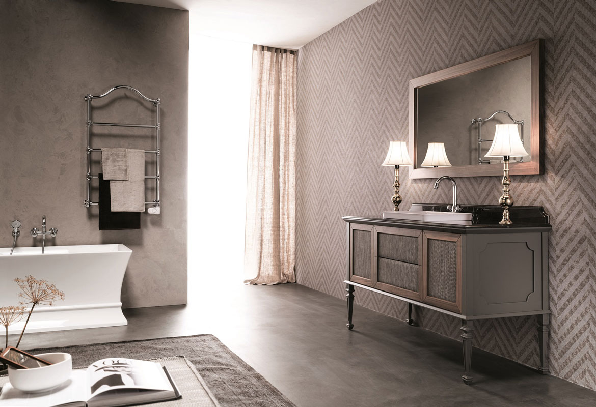 bathroom furniture - wooden bathroom cabinet with fabric covering
