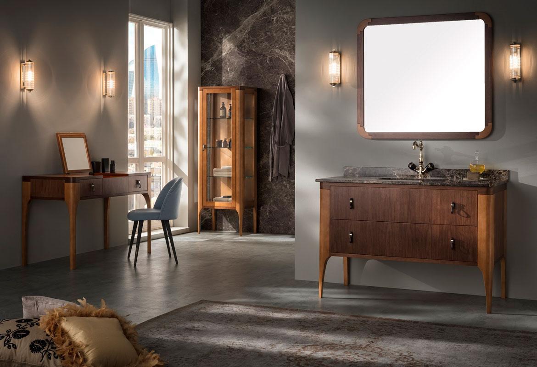 Collezione Majestic composta da mobili per il bagno in legno dalle linee classiche